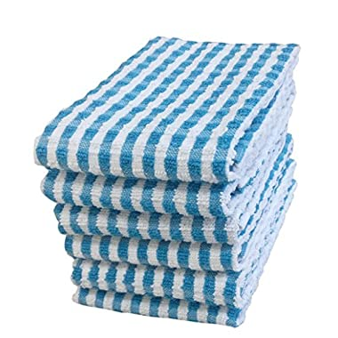 """KT Towels 100% Cotton Terry Kitchen Dish Towels, Highly Absorbent, 24"""" x 15"""", 6 Pack, by (Turquoise)"""