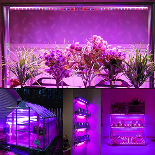 Roleadro IP65 Lampe Horticole Culture Indoor 40W LED Horticole T5 Grow LED avec Minuterie 3H/6H/12H et Luminosité Dimmable 25%/50%/75%/100% pour Intérieur/Serre/Hydroponique/Grow Box Culture [4Pcs]