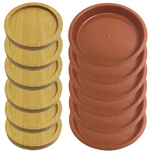 AIFUDA 6 Piezas 2,5 Pulgadas Bambú Redondo Platillo De La Planta y 6 Piezas 4.3En El plastico Planta de Maceta Bandejas de Goteo para Interiores Al Aire Libre Jardín
