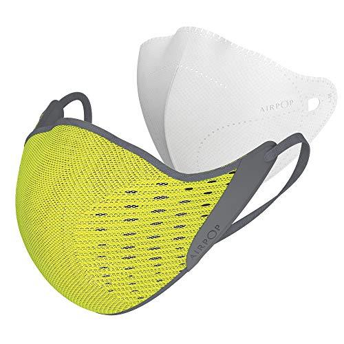 AIRPOP Aktiv Wiederverwendbare Gesichtsmaske, 4-lagige Filter, konturierte Passform, Faltbare, verstellbare Schutzmaske, Gesichtsmasken für Erwachsene zum Schutz vor Schadstoffen, Gelb/Schwarz