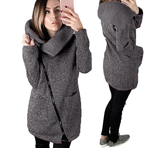 Kolylong® Oberteile Damen Warme Kapuzenjacke Beiläufiger Mantel Sweatshirt Oberbekleidung (M, Dark Gray)