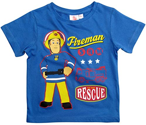 Feuerwehrmann Sam T-Shirt Jungen Rundhalsausschnitt (Blau, 110-116)