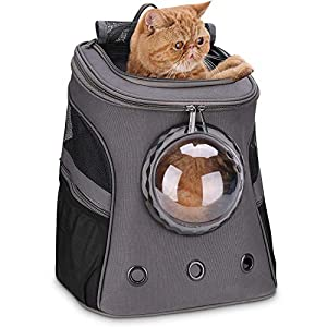 Lollimeow Large Cat Backpack Carrier with Bubble,Pet Backpack for Fat Cats and Dogs Puppies