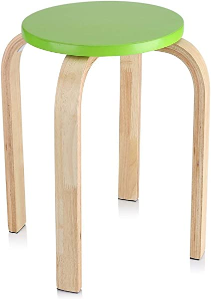 Ejoyous Wooden 17 9 Round Stool Anti Slip Comfortable Stylish Home Backless Chairs Stool Furniture Kid S Stool Seat With Anti Slip Mat For Office Dinning Kitchen Garden Living Room Green