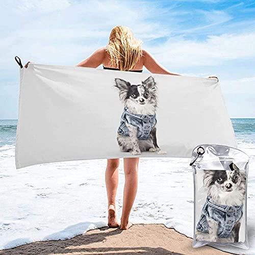Bonita Toalla de baño de Mezclilla para Perros, Toalla de Playa, Uso Multiusos para Deportes, Viajes, súper Absorbente, Microfibra de Secado rápido Suave, Liviana: 31.5 'x63