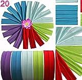 Swissprotrade 20 Stück Sport Running Yoga Stirnband Haarband Schweissband Elastisch 5 Modische Farben Assortiert Passen Damen Herren Mädchen Jungs
