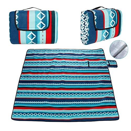DONGQI Picknickdecke Fleece-Picknick-Decke mit wasserabweisender Unterseite, 200 x 200 cm extra großer Teppich mit Griff für Familienausflüge im Freien