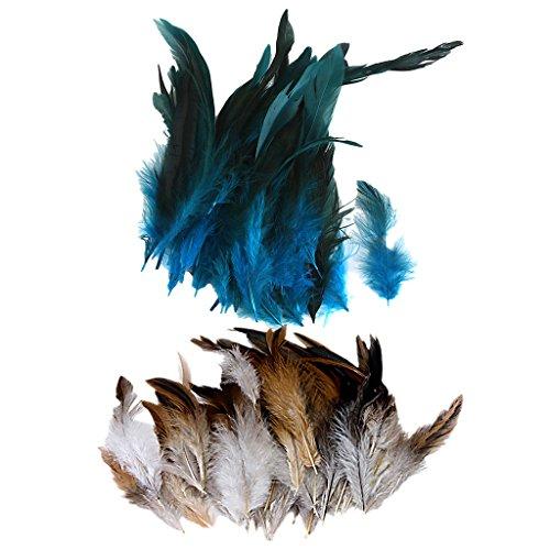 Homyl 100 Pièces Beau Poulet Faisan Coq Plume Couleurs Naturelles Et Teintes Pour Mariage Chapeaux Carte Artisanat Bricolage Couture Garnitures, 2 - 6inch 4 - 7inch
