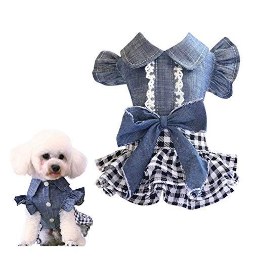 shuxuanltd Ropa para Perros Vestido De Perro Ropa para Perros Pequeños para Mascotas Vestido De Fiesta Perro Lindo Vestidos Ropa De Gato Ropa De Perros Falda Vaquera s