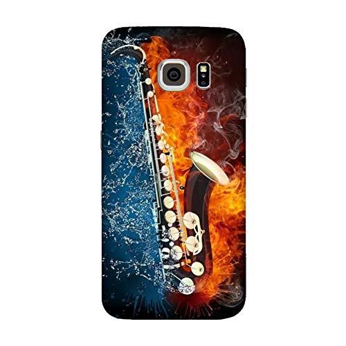 Cover Samsung Galaxy S6 Edge | G9250 Musica Sassofono Acqua e Fuoco/Custodia Stampa Anche sui Lati/Case Anticaduta Antiscivolo AntiGraffio Antiurto Protettiva Rigida