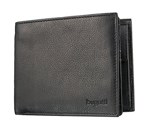 Bugatti Sempre Geldbörse Herren Leder 8CC – Portemonnaie Herren Querformat Schwarz – Geldbeutel Portmonee Wallet Brieftasche Männer Portmonaise