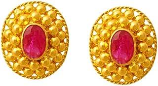 Lagu Bandhu 22k (916) Yellow Gold and Ruby Stud Earrings for Women