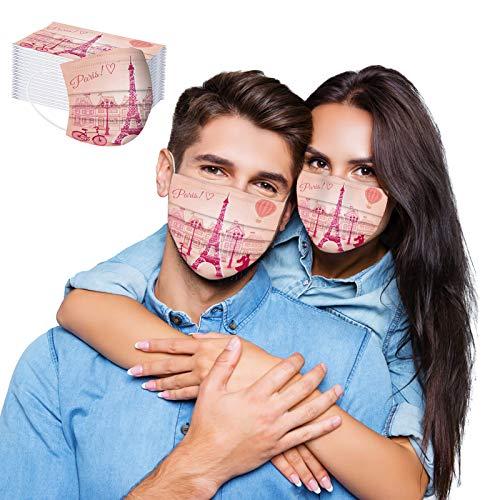 eiuEQIU 100% Baumwolle Mundschutz - Valentinstag drucken atmungsaktive Mund und Nasenschutz Staubschutz Gesichtsschutz zum Binden
