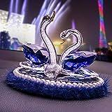 Lghoen Escultura Animal Crystal Swan Figurines Glass Swan for Love Presente Perfume de Coche Botella-Azul
