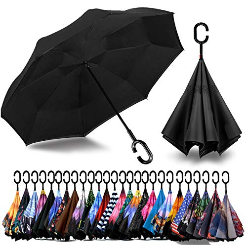 AHOMY Inverted Reverse Umbrella Rainforest Flower Windproof for Car Rain Outdoor