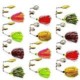 Spinner Cebos Kit de Señuelo de Pesca Dura Cuchara Spinnerbait de Metal Multicolor con Hojas Holográficas para Pesca de Lubina y Lucio