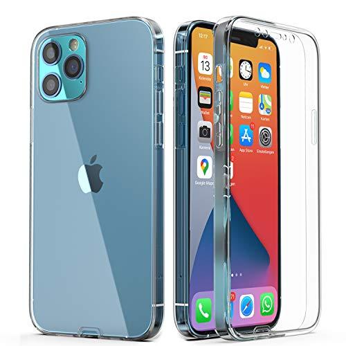 Urcover Funda 360° 360° compatible con Apple iPhone 12 Pro Max I Original famoso por Galileo I Protección delantera + trasera I Compatible con QI I I Soft Edition funda transparente
