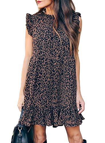 GOSOPIN Damen Tunika Kleid V-Ausschnitt Damenrock Casual Swing Kleid lose T-Shirt Kleider elegant Blusenkleid Sommer Strandkleider Leopard M