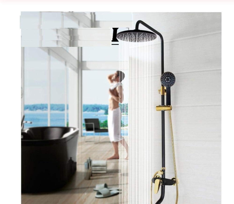 Wasserhahn Luxus-Badezimmer Regenmischer Dusche Combo Set Wandmontage Regenduschkopf System Schwarz Gold-Plat Duscharmatur