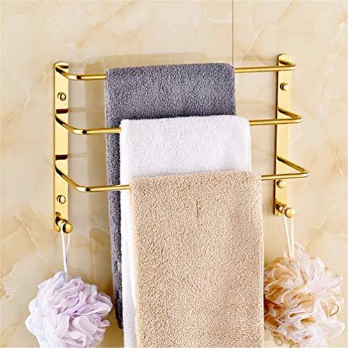Estante de toalla de baño montado en la pared toallero de acero inoxidable toalla toalla de almacenamiento de soporte del estante del estante de múltiples funciones for baños y cocinas Golden Square d