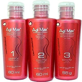 Agi Max Brazilian Keratin Hair Straightening Kit 60 ML (Strong Formula - Red Bottles)