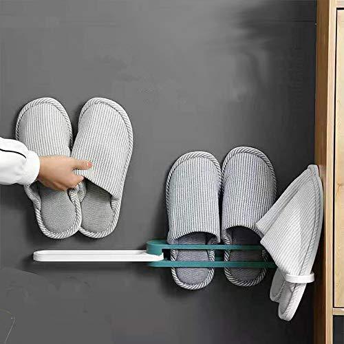 mianyang Zapatero de baño 3 en 1, no perforado, organizador de drenaje plegable de pared, apto para zapatillas, toallas, puede contener 3 pares de zapatillas, color azul