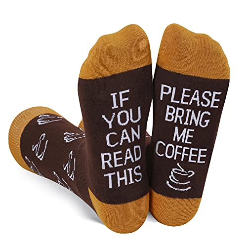 Funny Saying If You Can Read This Bring Me Coffee Socks-Funny Novelty Coffee Socks Gifts For Men Coffee Lover