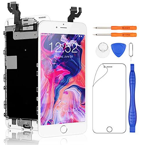 Yodoit Komplett Display für iPhone 6s Plus LCD Bildschirm vormontiert weiß mit homebutton, Digitizer Montage Glas Touchscreen mit Frontkamera Näherungssensor Reparaturset Ersatzbildschirm + Werkzeuge