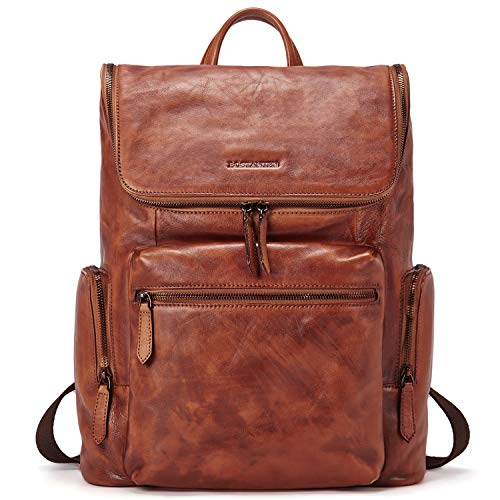 BOSTANTEN Men Leather Backpack 15.6 inch Vintage Laptop Backpack Travel College Shoulder Bag Brown