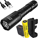 NITECORE i4000R 4400 Lumen USB-C Rechargeable Tactical Flashlight with Custom 5000mAh Battery with LumenTac QC3.0 Quick Charge Adapter