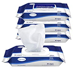"""Advanced 75% Alcohol Formula DISPOSABLE WIPES: Contains 4 packs of 50 disposable, hand sanitizer wipes, each wipe is 5.9"""" x 7.9"""" sheets RESEALABLE PACKAGE: Open lid, gently pull back resealable label, and open/close lid as needed CAUTION: Keep out of..."""