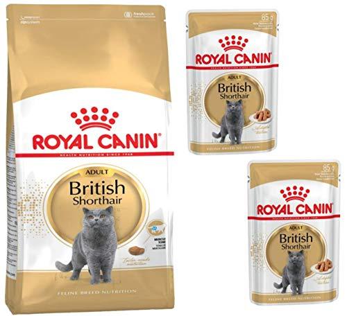 Royal Canin British Shorthair Adult Dry Food 400g and 2 x 85g Royal Canin Breed British Shorthair pouches