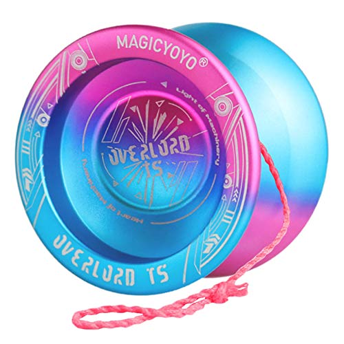 YOSTAR Yoyo Professional Magic YOYO T5 Plus Overlord, Unresponsive Yoyo Balls, Aluminum Alloy Metal Yoyo, Bonus - 5 Strings, Yo-Yo Bag, Glove (Blue Pink Gradient Yoyo)