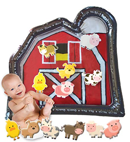 Tummy Time Baby Water Mat   Big Red Barn Farmer Toy   Toddler Baby Playmat   Water Inflatable Play...
