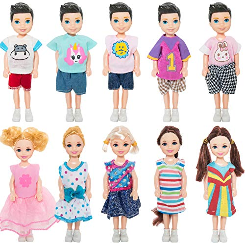 ONEST 10 Sets 5 Inch Dolls Mini Dolls Include 5 Pieces Boy Dolls, 5 Pieces Girl Dolls, 10 Sets Handmade Doll Clothes, 10 Pairs of Doll Shoes