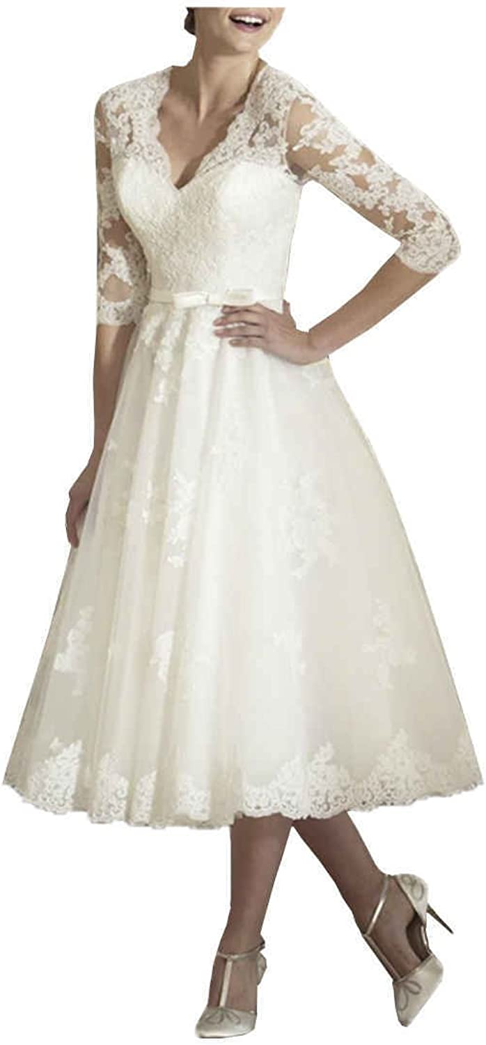 JQLD Womens Tea Length Lace Wedding Dresses Sleeves V Neck A Line Bridal Gown