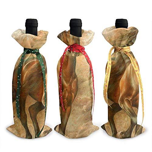 3 fundas para botella de vino, pintura al óleo, caballo, decoración de mesa, decoración de mesa, para Navidad, fiesta, cena, regalo