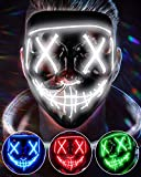 LED Light Up Halloween Mask, Scary Rave Glow LED Face Mask with 3 lighting Modes & El Wire for Costume&Cosplay Party. Adjustable&Eco-Friendly Material for Men Women Kid-WHITE
