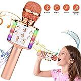 Micrófono Karaoke Bluetooth,Micrófono Inalámbrico Bluetooth karaoke portatil con Luz LED Micrófono Infantil con Cantar y Grabación,Regalo...