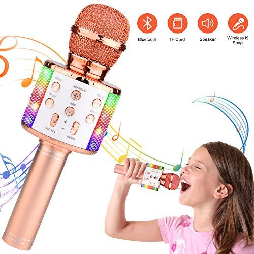 Micrófono Karaoke Bluetooth,Micrófono Inalámbrico Bluetooth karaoke portatil con Luz LED Micrófono Infantil con Cantar y Grabación,Regalo Niños,Fiesta Microfono Karaoke para PC/Android/iOS o Teléfono