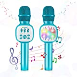 Kids Microphone,ZealSound Wireless Bluetooth Karaoke Microphones with Flashing LED Lights, Magic Sing Voice Changer Portable karokee microfonos Speaker Sing Recording for Christmas Birthday Party Blue