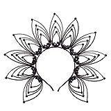 GRACEART Diadema Halo Crown Sunburst Mujeres Partido Accesorio para el pelo Banda Tiara (A-Negro)
