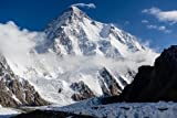 K2 SNOW-CAPPED MOUNTAIN poster borders PAKISTAN & CHINA raw