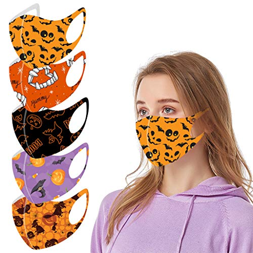 YIlanglang 1/5 PCS Adults Reusable Face_Masks Halloween Face Bandanas Cotton Breathable Mouth Covering Balaclavas,Unisex Comfortable Washable Oral Protective for Halloween Suprise Party Supplies
