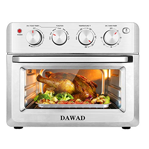 DAWAD Air Fryer Toaster Oven Countertop, Convection Oven with 5 Accessories & Recipes, Easy Clean, Stainless Steel, 19 QT, Silver