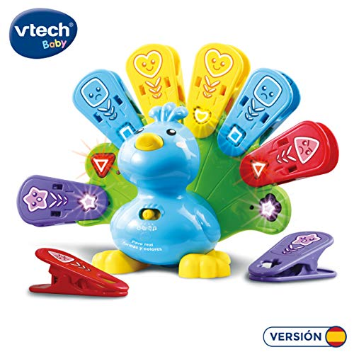 VTech - Paon Real Formes et Couleurs Animaux de Compagnie interactif avec lumières chansons et mélodies. (3480-525822), Couleur/modèle Assorti