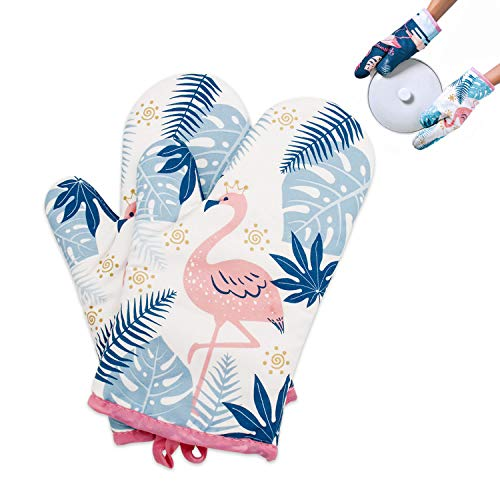 Oven Mitts Heat Resistant 500 Degrees Oven Gloves Cute Flamingo Design with Quilted Lining Hanging Loop for Cooking BBQ Baking 1 Pair