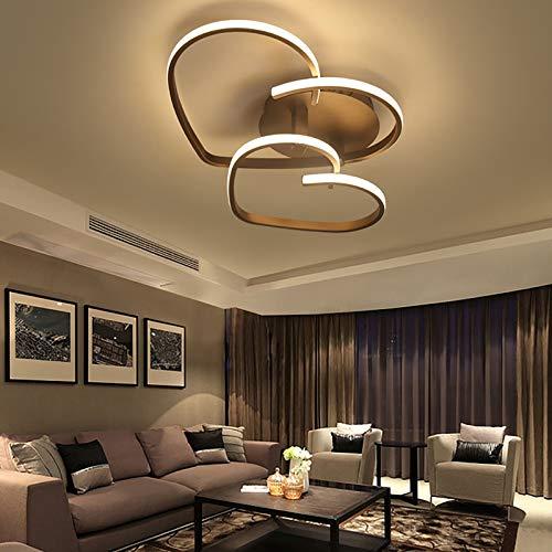 Lámpara de techo LED, moderna, sencilla, creativa, mando a distancia, regulable, diseño en forma de corazón, para salón, dormitorio, habitación de los niños de 8 a 12 ㎡
