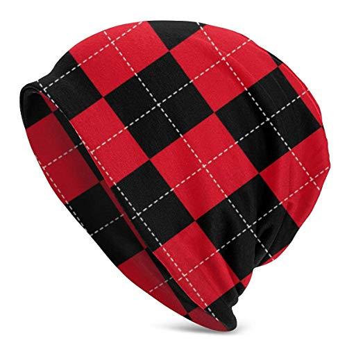 SWT-T Gorro de punto de fondo rojo y negro para el tablero de ajedrez gorras de invierno gorras de gorras con puños de calavera lisa para hombres y mujeres