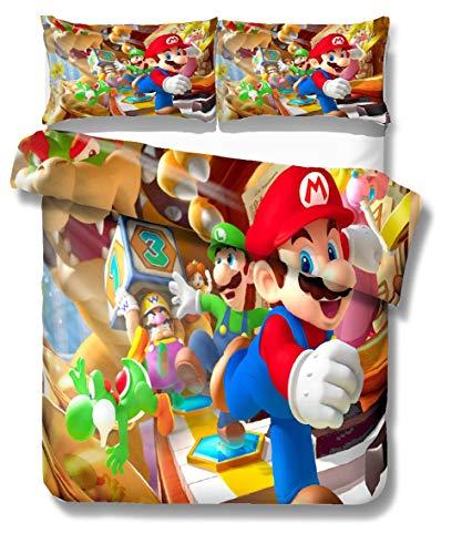AMCYT Super Mario - Juego de ropa de cama infantil (sábana encimera y sábana bajera, muy suave)